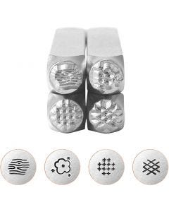 Tampons relief, Motifs graphique 2, L: 65 mm, dim. 6 mm, 4 pièce/ 1 set
