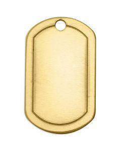Plaque métallique, Carré, dim. 32x20 mm, diamètre intérieur 2,85 mm, ép. 1 mm, laiton, 4 pièce/ 1 Pq.