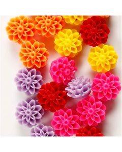 Perles fleurs, dim. 15x8 mm, diamètre intérieur 1,5 mm, couleurs assorties, 5x4 pièce/ 1 Pq.