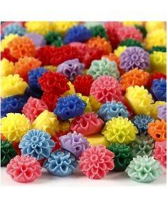 Perles fleurs, dim. 15x8 mm, diamètre intérieur 1,5 mm, couleurs assorties, 10x25 pièce/ 1 Pq.