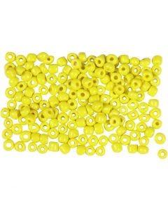 Rocailles, d: 3 mm, dim. 8/0 , diamètre intérieur 0,6-1,0 mm, jaune, 500 gr/ 1 Pq.