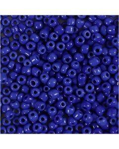 Rocailles, d: 3 mm, dim. 8/0 , diamètre intérieur 0,6-1,0 mm, bleu, 25 gr/ 1 Pq.