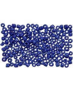 Rocailles, d: 3 mm, dim. 8/0 , diamètre intérieur 0,6-1,0 mm, bleu, 500 gr/ 1 Pq.
