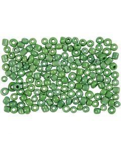Rocailles, d: 3 mm, dim. 8/0 , diamètre intérieur 0,6-1,0 mm, vert, 500 gr/ 1 Pq.