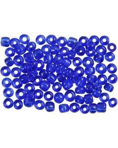 Rocailles, d: 4 mm, dim. 6/0 , diamètre intérieur 0,9-1,2 mm, cabalt transparent, 500 gr/ 1 Pq.