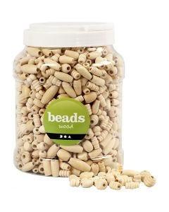 Perles en bois, dim. 5-28 mm, diamètre intérieur 2,5-3 mm, 2 L/ 1 seau