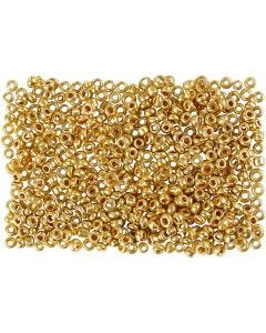 Rocailles, d: 1,7 mm, dim. 15/0 , diamètre intérieur 0,5-0,8 mm, laiton, 500 gr/ 1 sac