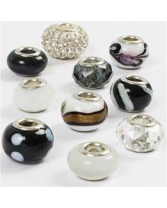 Breloques en verre, d: 13-15 mm, diamètre intérieur 4,5-5 mm, harmonie noir/blanc, 10 ass./ 1 Pq.