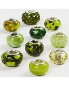 Breloques en verre, d: 13-15 mm, diamètre intérieur 4,5-5 mm, glitter vert, 10 ass./ 1 Pq.