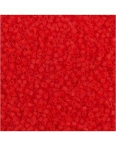 2-cut, d: 1,7 mm, dim. 15/0 , diamètre intérieur 0,5 mm, rouge transparent, 25 gr/ 1 Pq.
