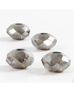Breloques à facettes, dim. 9x14 mm, diamètre intérieur 4 mm, gris foncé, 4 pièce/ 1 Pq.