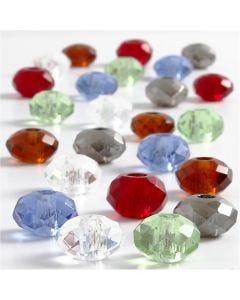 Breloques en verre, dim. 9x14 mm, diamètre intérieur 4 mm, couleurs assorties, 24 ass./ 1 Pq.