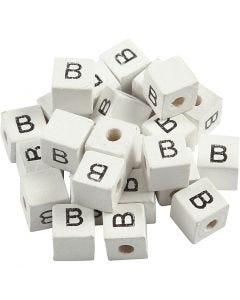 Perle lettre, B, dim. 8x8 mm, diamètre intérieur 3 mm, blanc, 25 pièce/ 1 Pq.