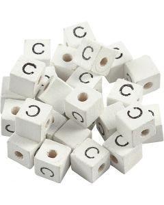 Perle lettre, C, dim. 8x8 mm, diamètre intérieur 3 mm, blanc, 25 pièce/ 1 Pq.