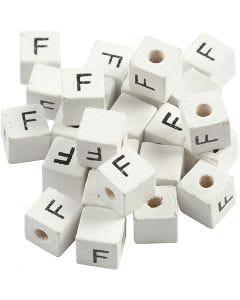 Perle lettre, F, dim. 8x8 mm, diamètre intérieur 3 mm, blanc, 25 pièce/ 1 Pq.