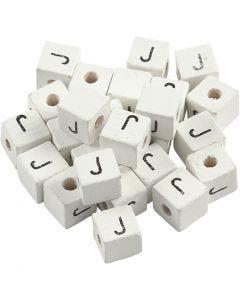 Perles lettres, J, dim. 8x8 mm, diamètre intérieur 3 mm, blanc, 25 pièce/ 1 Pq.