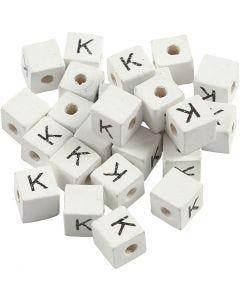 Perle lettre, K, dim. 8x8 mm, diamètre intérieur 3 mm, blanc, 25 pièce/ 1 Pq.