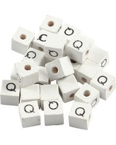 Perles lettres, Q, dim. 8x8 mm, diamètre intérieur 3 mm, blanc, 25 pièce/ 1 Pq.