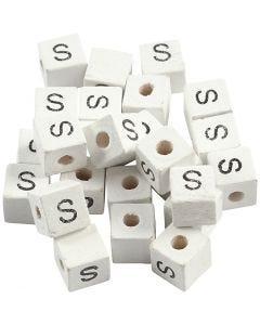 Perles lettres, S, dim. 8x8 mm, diamètre intérieur 3 mm, blanc, 25 pièce/ 1 Pq.