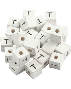 Perles lettres, T, dim. 8x8 mm, diamètre intérieur 3 mm, blanc, 25 pièce/ 1 Pq.