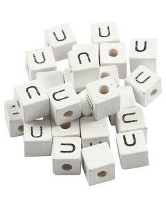 Perle lettre, U, dim. 8x8 mm, diamètre intérieur 3 mm, blanc, 25 pièce/ 1 Pq.