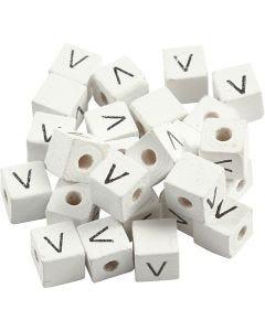 Perles lettres, V, dim. 8x8 mm, diamètre intérieur 3 mm, blanc, 25 pièce/ 1 Pq.