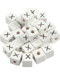 Perles lettres, X, dim. 8x8 mm, diamètre intérieur 3 mm, blanc, 25 pièce/ 1 Pq.