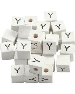 Perles lettres, Y, dim. 8x8 mm, diamètre intérieur 3 mm, blanc, 25 pièce/ 1 Pq.