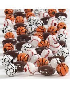 Perles de sport, dim. 11-15 mm, diamètre intérieur 3-4 mm, couleurs assorties, 45 gr/ 1 Pq.