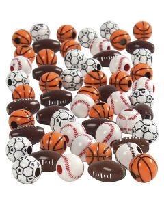 Perles de sport, dim. 11-15 mm, diamètre intérieur 3-4 mm, couleurs assorties, 270 gr/ 1 Pq.
