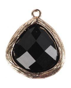 Bijou pendentif, dim. 15x18 mm, diamètre intérieur 1 mm, noir, 1 pièce