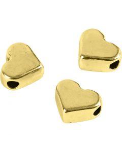 Perle espaceur, dim. 5,5x7 mm, diamètre intérieur 1 mm, doré, 3 pièce/ 1 Pq.