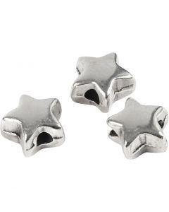 Perle espaceur, dim. 5,5x5,5 mm, diamètre intérieur 1 mm, argenté, 3 pièce/ 1 Pq.