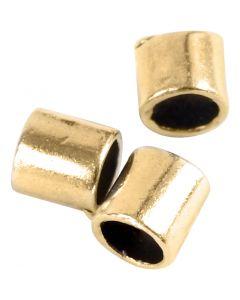 Tubes à pincer, dim. 2x2 mm, diamètre intérieur 1,4 mm, doré, 80 pièce/ 1 Pq.