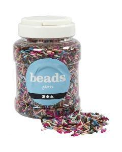 Mélange de perles, L: 6 mm, d: 1,5-2 mm, diamètre intérieur 1 mm, couleurs métalliques, 520 gr/ 1 boîte
