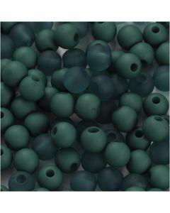 Perles en plastique, d: 6 mm, diamètre intérieur 2 mm, vert bouteille, 40 gr/ 1 Pq.