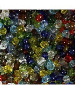 Rocailles, d: 4 mm, dim. 6/0 , diamètre intérieur 0,9-1,2 mm, brillant transparent, 130 gr/ 1 Pq.