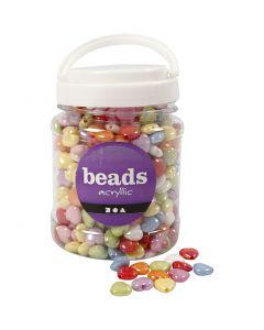 Perles plastique, dim. 15x15 mm, diamètre intérieur 3 mm, couleurs assorties, 700 ml/ 1 boîte
