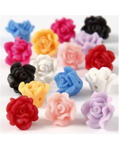 Roses en pâte, d: 16x10 mm, diamètre intérieur 0,5 mm, couleurs assorties, 16 ass./ 1 rang