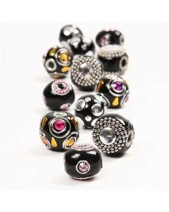 Perles en pâte, d: 20-17 mm, diamètre intérieur 4,5 mm, noir, 12 ass./ 1 Pq.