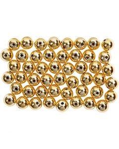 Perles de cire, d: 5 mm, diamètre intérieur 0,7 mm, or, 100 pièce/ 1 Pq.