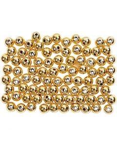 Perles de cire, d: 4 mm, diamètre intérieur 0,7 mm, or, 150 pièce/ 1 Pq.