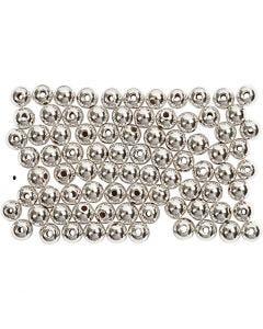Perles de cire, d: 4 mm, diamètre intérieur 0,7 mm, argent, 150 pièce/ 1 Pq.