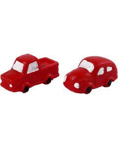 Petites figurines, H: 20 mm, L: 40 mm, rouge, 2 pièce/ 1 Pq.