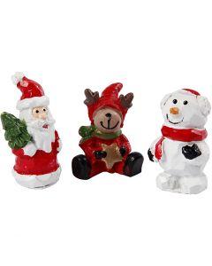 Petites figurines, père Noël, renne et bonhomme de neige, H: 35 mm, L: 10 mm, 3 pièce/ 1 Pq.