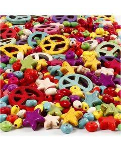 Perles d'Howlite, dim. 4-25 mm, diamètre intérieur 1,5 mm, Le contenu peut varier , couleurs franches, 840 pièce/ 1 Pq.