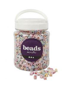Perles lettres, dim. 6x6 mm, diamètre intérieur 3 mm, 700 ml/ 1 boîte, 500 gr