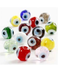 Perles yeux, d: 10 mm, diamètre intérieur 1,2 mm, couleurs assorties, 40 cm/ 1 Pq.