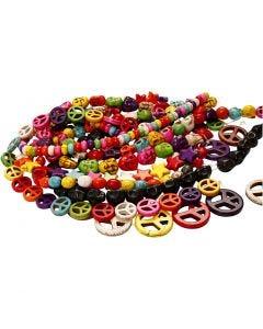 Perles d'Howlite, d: 12-15 mm, diamètre intérieur 1,5 mm, noir, couleurs franches, 8 rangs/ 1 Pq.