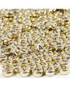 Perles lettre/chiffre, d: 7 mm, diamètre intérieur 1,2 mm, or, 21 gr/ 1 Pq.